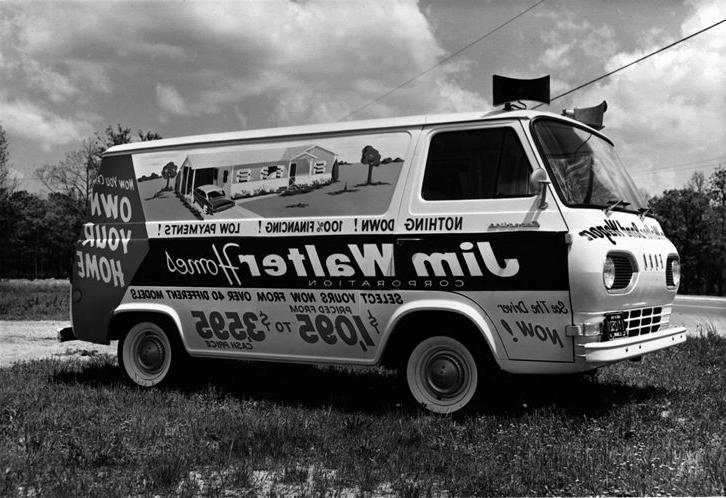 One of Jim Walter#8217;s vans that were used to advertise in the;...