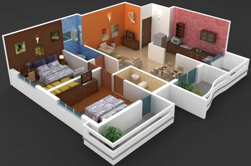 2 bhk flat interior design photos for Interior designs for flats