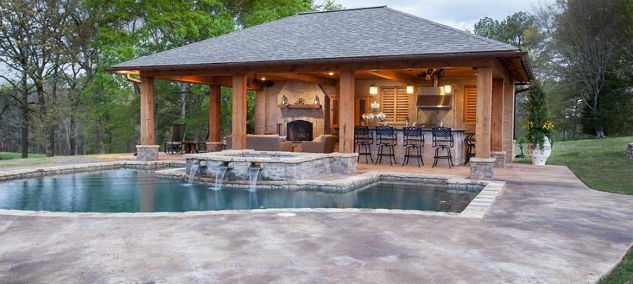 Photos of pool houses for Pool design jackson ms