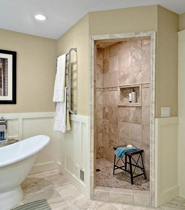 Walk in showers without doors photos for Walk through shower pros and cons